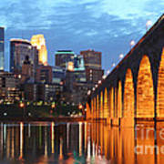 Minneapolis Skyline Photography Stone Arch Bridge Poster