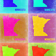 Minnesota Pop Art Map 2 Poster