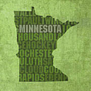 Minnesota Word Art State Map On Canvas Poster