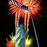 Miss Liberty And Fireworks Poster
