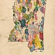 Mississippi Map Vintage Watercolor Poster