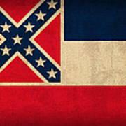 Mississippi State Flag Art On Worn Canvas Poster