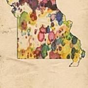 Missouri Map Vintage Watercolor Poster