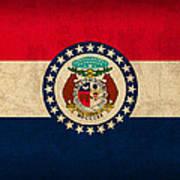 Missouri State Flag Art On Worn Canvas Poster