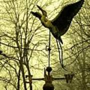 Misty Egret - Gold Poster