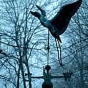 Misty Egret Poster