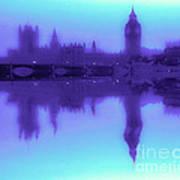 Misty London Reflection Poster