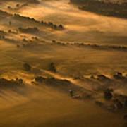 Misty Morning Farmland Poster