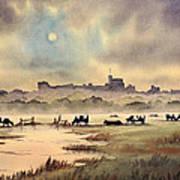 Misty Sunrise - Windsor Meadows Poster