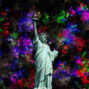 Mixed Media Statue Of Liberty Poster