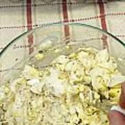 Mixing Egg Salad Ingredients Poster