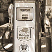 Mobilgas Special - Tokheim Pump  - Sepia Poster by Mike McGlothlen