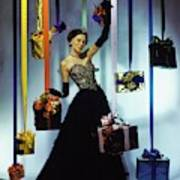 Model Wearing An Evening Gown Among Gifts Poster