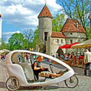 Modern Cycle Taxi In Old Town Tallinn-estonia Poster