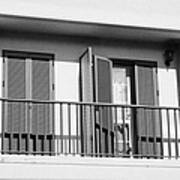 modern pvc sun shutter blinds on balcony doors and windows of house in tacoronte Tenerife Canary Islands Spain Poster