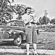 Mom Child And Car Poster