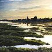 Monet Style Digital Painting Beautiful Summer Sunset Landscape Over Low Tide Harbor With Moor Poster