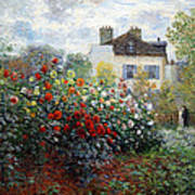 Monet's The Artist's Garden In Argenteuil  -- A Corner Of The Garden With Dahlias Poster