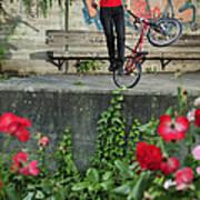 Monika Hinz Doing Elegant Bmx Flatland Trick Poster