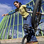 Monika Hinz Riding Bmx Flatland Poster