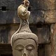 Monkey Sitting Perched On Buddha Head Poster