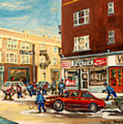Monkland Street Hockey Game Montreal Urban Scene Poster by Carole Spandau