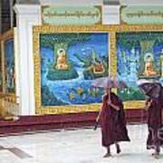 Monks In Rain At Shwedagon Paya Temple Yangon Myanmar Poster