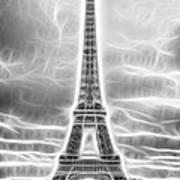 Monochrome Eiffel Tower Fractal Poster