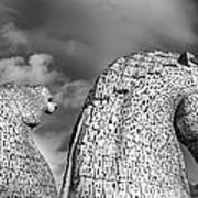 Monochrome Kelpies Poster