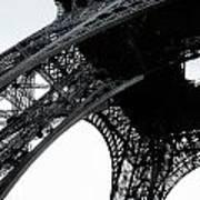 monocrome leg of Eiffel tower Poster