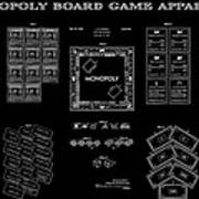 Monopoly Board Game Black Patent Art  1935 Poster