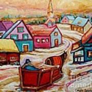 Mont St.hilaire Going Towards The Village Quebec Winter Landscape Paintings Carole Spandau Poster