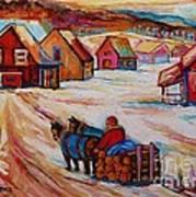 Mont St.hilaire Winter Scene Logger Heading Home To Quebec Village Winter Landscape Carole Spandau Poster