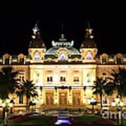 Monte Carlo Casino At Night Poster