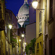 Montmartre Street And Sacre Coeur Poster