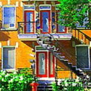 Montreal Art Seeing Red Verdun Wooden Doors And Fire Hydrant Triplex City Scene Carole Spandau Poster