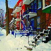 Montreal Art Streets Of Verdun Winter Scenes Winding Staircases Snowscenes Carole Spandau Poster