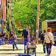 Montreal Art Summer Cafe Scene Rue Laurier Family Day Wagon Ride City Scene Art By Carole Spandau Poster