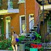 Montreal Art Summer Stroll By Blue Winding Staircase Verdun Homes Balcony Scene Carole Spandau Poster