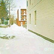 Montreal Art Urban Winter City Scene Painting Verdun Laneway After  Heavy December Snowfall Poster