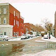 Montreal Art Winter Street Scene Painting The Point Psc Rowhouses In January Snow Cspandau Poster