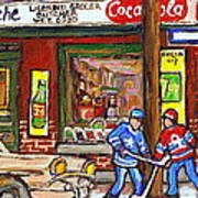 Montreal Hockey Paintings At The Corner Depanneur - Piche's Grocery Goosevillage Psc Griffintown  Poster