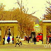 Montreal Memories Mcgill Students On Campus Roddick Gates Montreal Collectible Art Prints C Spandau Poster