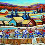 Montreal Memories Rink Hockey In The Country Hockey Our National Pastime Carole Spandau Paintings Poster
