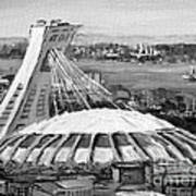Montreal Olympic Stadium And Olympic Park-home To Biodome And Velodrome-montreal In Black And White Poster