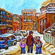Montreal Paintings Winter Walk Past The Old School Snowy Day City Scene Carole Spandau Poster