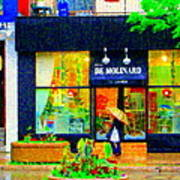 Montreal Rainy Day  Window Shopping Girl With Paisley Umbrella Spa Molinard Laurier  Carole Spandau Poster