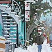 Montreal Winter Scene Mile End Poster