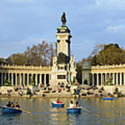 Monument And Lake In Retiro Park In Madrid Poster