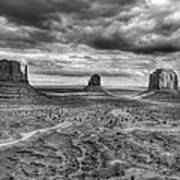 Monument Valley Black And Withe Poster